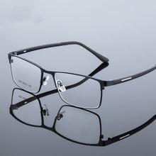Liga de titânio óculos quadro masculino fino metal quadrado miopia prescrição completa óculos ópticos quadros olho
