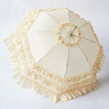 Pagoda-Umbrella Parasol Bride Cosplay Wedding Lolita Vintage White for Womens Princess