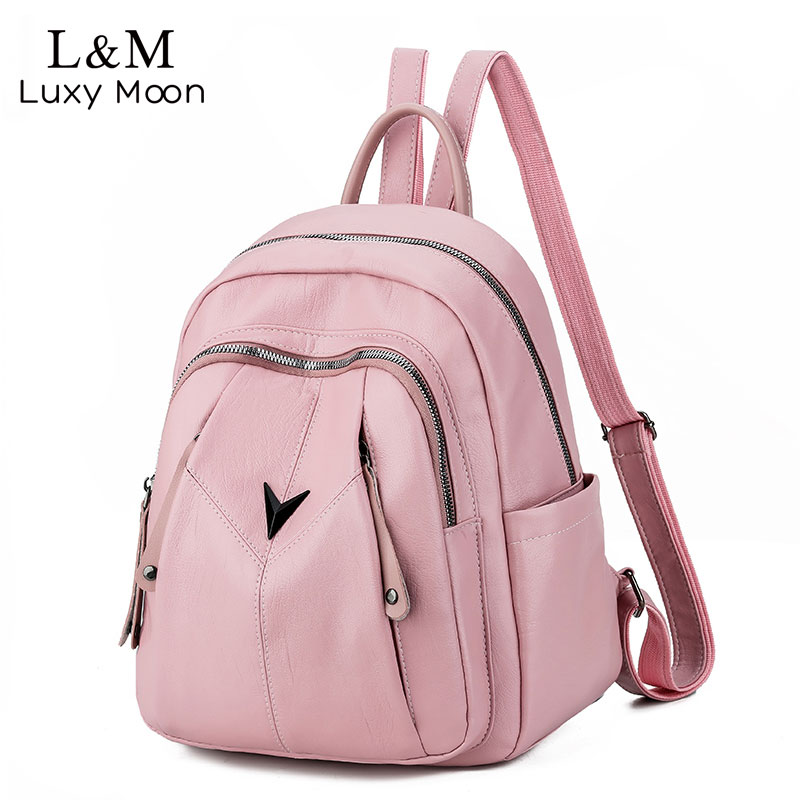 Fashion Backpack Women Soft Leather Shoulder Bag Female Designer Small School Bags For Girls Mochilas Casual Travel Bag XA565H