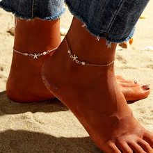 Bohemian Star Beads Stone Anklets for Women Vintage woven Rope Pendant Bracelet on Leg Anklet Beach Ankle Jewelry New Gift(China)