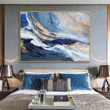 Hand-painted Oil Painting Abstract Golden Clouds Chinese New Large Living Room Sofa Backdrop Banner Decorative Painting Modern P