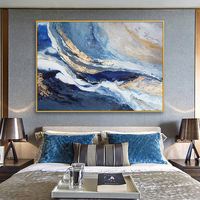 Hand painted Oil Painting Abstract Golden Clouds Chinese New Large Living Room Sofa Backdrop Banner Decorative Painting Modern P