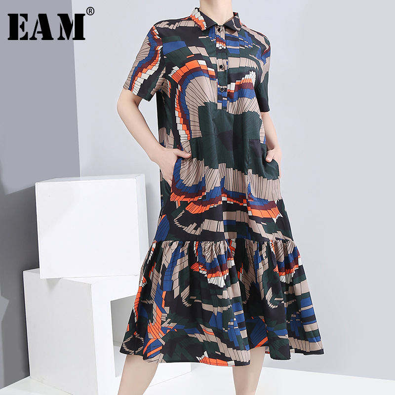 [EAM] Women Pattern Printed Pleated Split Midi Dress New Lapel Short Sleeve Loose Fit Fashion Tide Spring Summer 2020 1S88