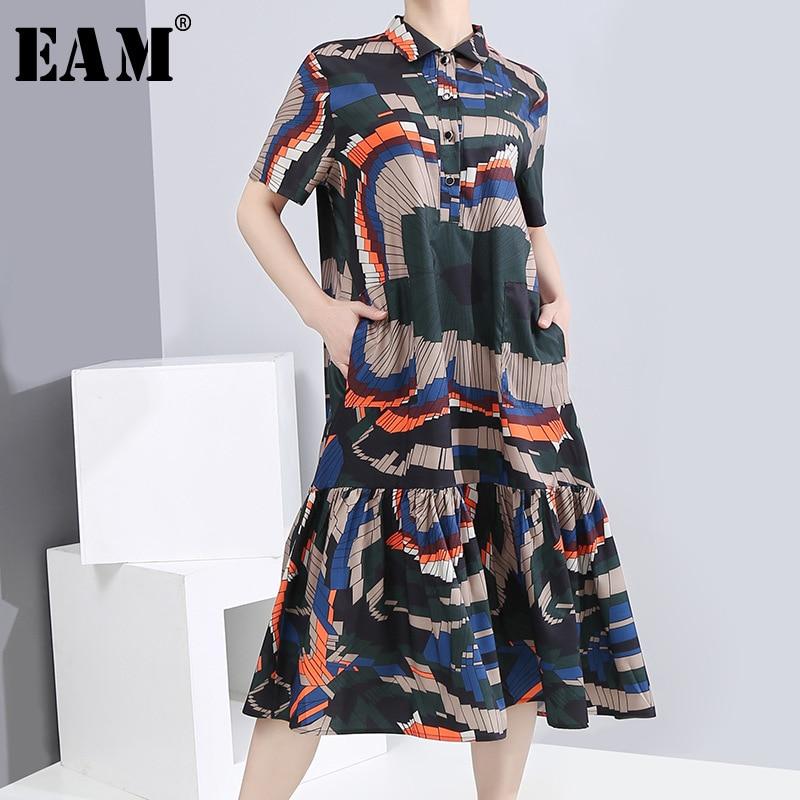 [EAM] Women Pattern Printed Pleated Split Midi Dress New Lapel Short Sleeve Loose Fit Fashion Tide Spring Summer 2020 1S88