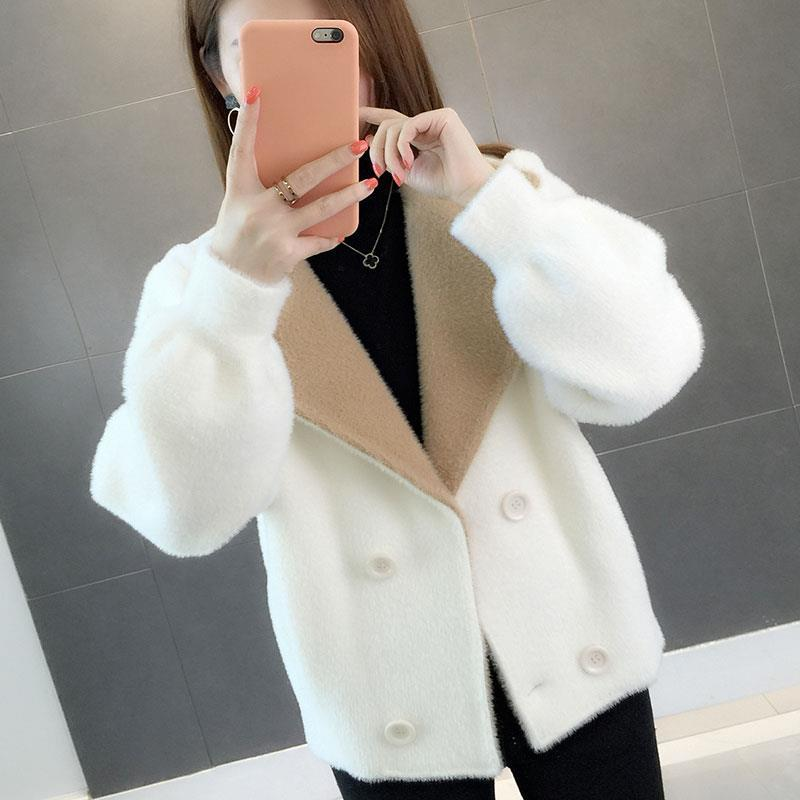 Warm Fur Long Sleeve Faux Mink Fur Coat Winter Short Hair Faux Fur Coat Solid Color Ladies Outerwear Casual Coat Female