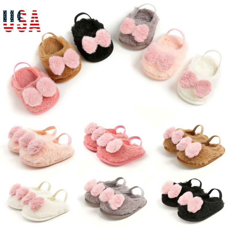 Cute Toddler Baby Boy Girl Rabbit Hair Shoes Winter Warm Faux Bow Baby Casual Shoes Soft Flat Sole Baby Warm Shoes For 0-18M