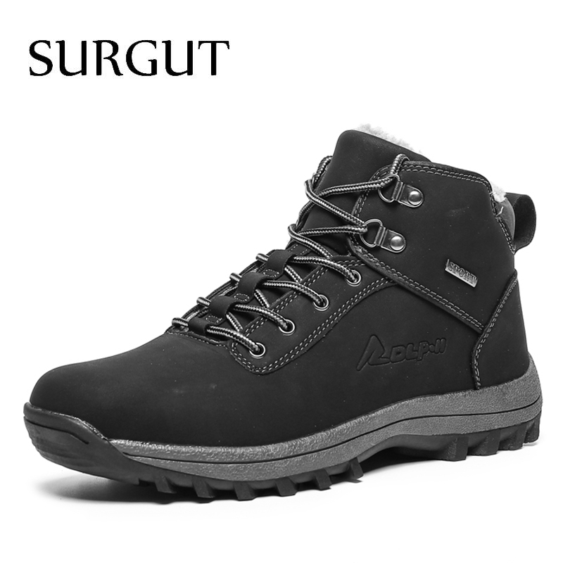 SURGUT Autumn Winter Genuine Leather Men Ankle Boots New Men Casual Shoes Warm Vintage Snow Boots Classic Men Motorcycle Boots