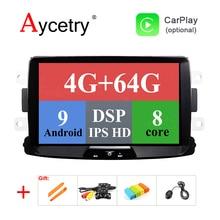 DSP ips для Duster/Logan/Dacia/Sandero/Captur/Lada/Xray 2/Logan 2 4G 64G 8 Core Android 9,0 Автомобильный мультимедийный dvd gps радио плеер