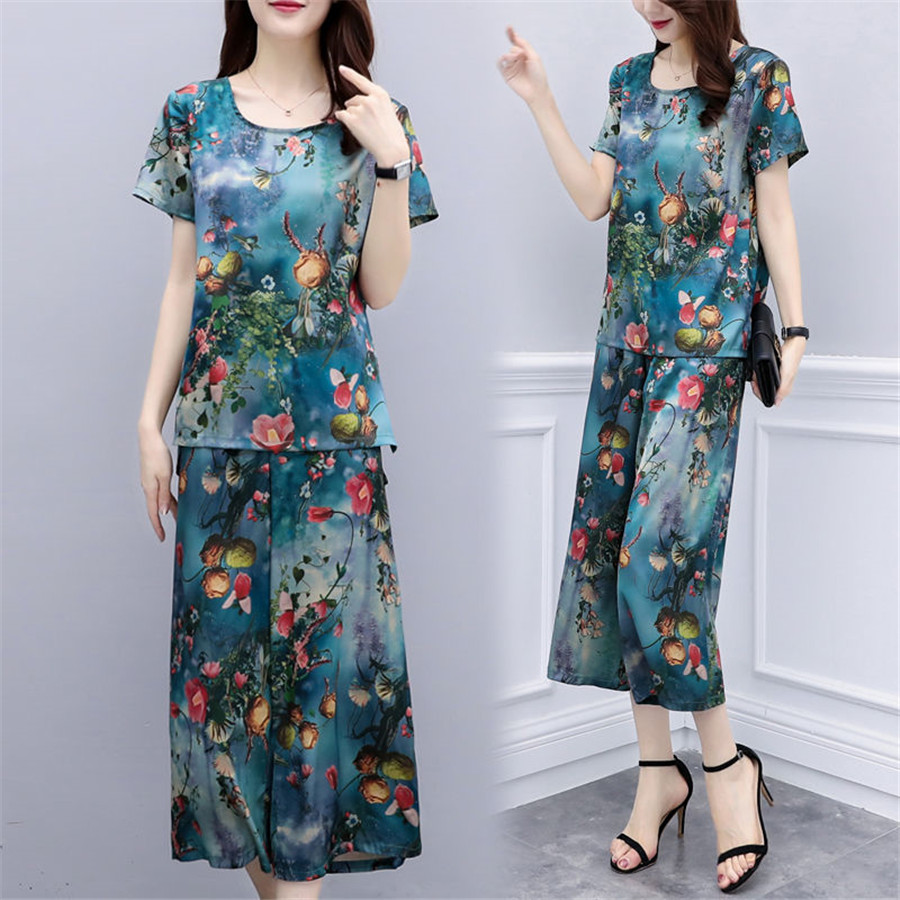 2020 Summer Women Flower Printed Sets Short Sleeve Tops And Wild Leg Pant Suits Female Tracksuit