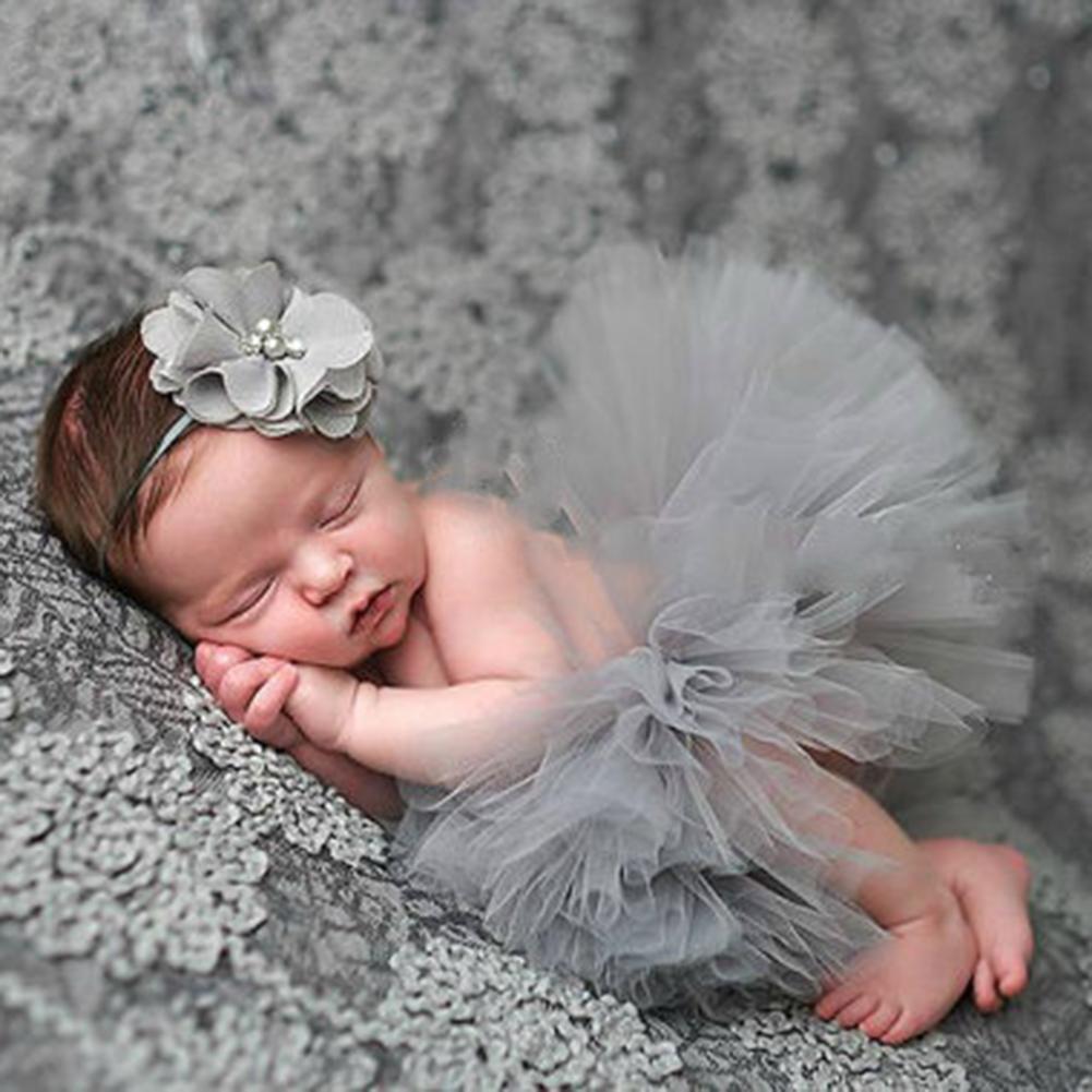 Newborn Baby Girl European And American Style Puff Skirt Flower Headband Studio Photography Costume Props Hundred Days Photo