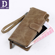 DIDE Business Genuine Leather Clutch Bag Wallet Men,Gentlemen Fashion Vintage Designer Large Capacity Cowhide Wallet Purse coin