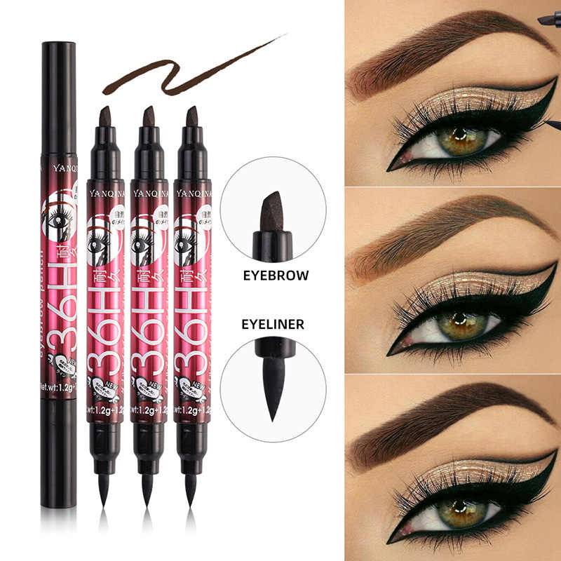 Dual-ended Liquid Eyeliner Pen + Eye Brow Pencil Waterproof Long Lasting Quick Dry Eye Liner Pen maquiagem profissional TSLM2