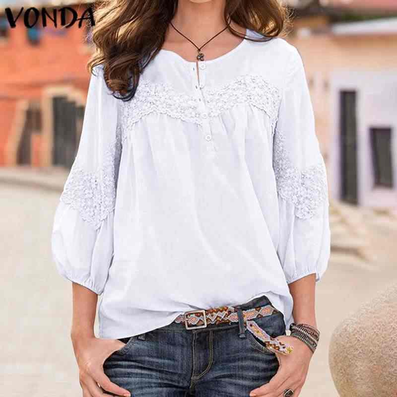 VONDA בוהמי מוצק חולצות נשים מקרית 3/4 שרוול סקסי לבן חולצות 2019 קיץ מסיבת חולצות בתוספת גודל סתיו חוף Blusas