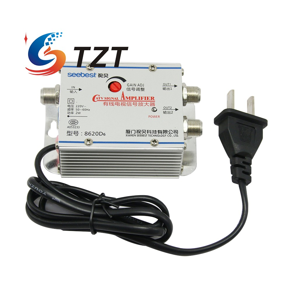 TZT SB-8620D6 2 Way CATV Signal Amplifer Sat Cable TV Signal Amplifier Splitter Booster CATV 20DB