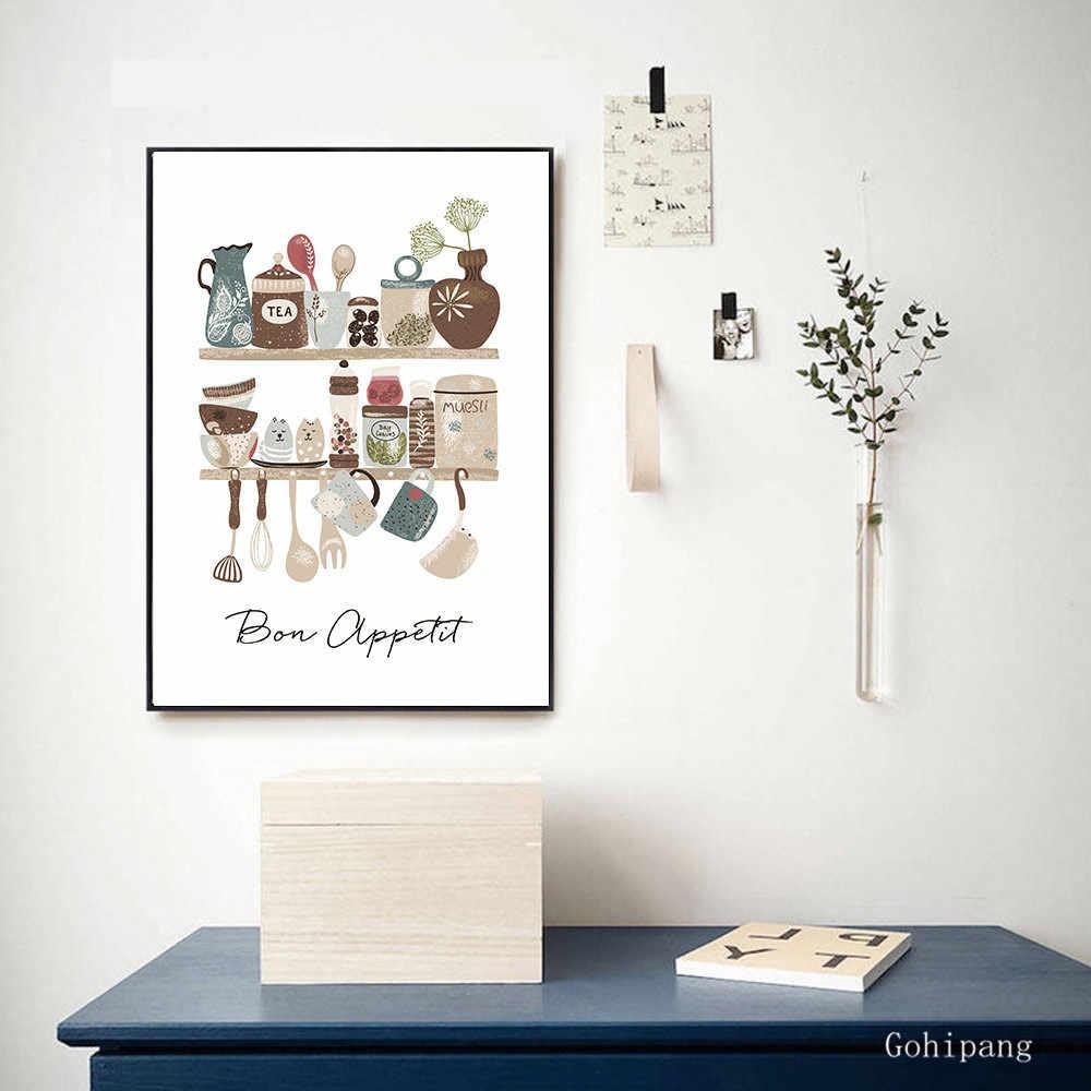 식기 캔버스 회화 벽 예술 Nordico 포스터 인쇄 현대 인쇄 회화 따옴표 부엌 가정 훈장을위한 벽 그림