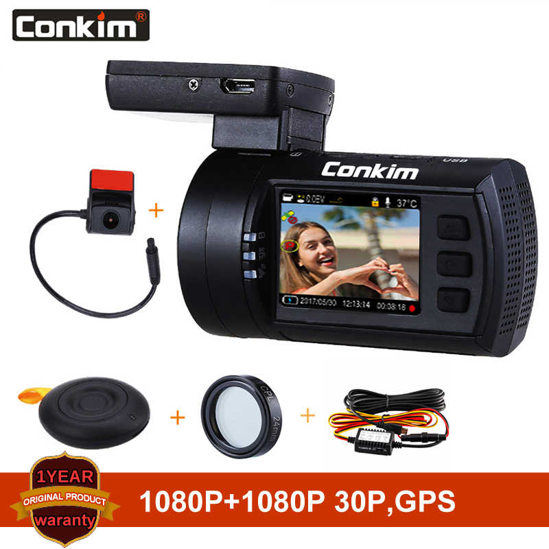 Conkim Dual de la lente del coche cámara de salpicadero Super condensador coche DVR HD1080P grabadora de la Cámara de salpicadero era GPS CPL Hardwire Mini 0906 PRO