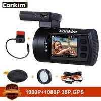 Conkim Dual lens Car Dash Cam Super Capacitor Car DVR Recorder FULL HD1080P Dash Camera GPS CPL Hardwire Mini 0906