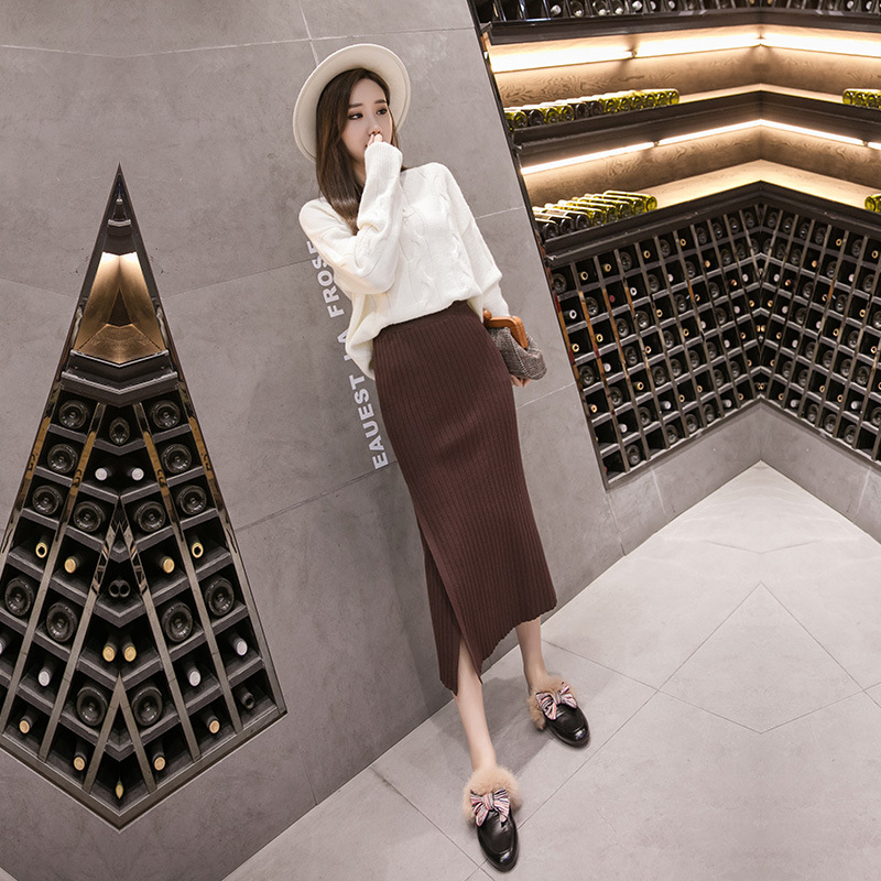 Support Lengthen Skirt Women's Tall Long Skirt Children Autumn And Winter 2018 New Style Wool Skirt