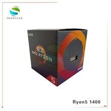 Processador amd ryzen 5 1400 r5 1400 3.2 ghz, cpu quad core, soquete am4 com refrigerador ventilador