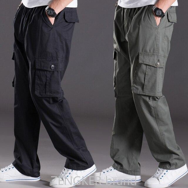 春夏カジュアルパンツ男性ビッグサイズ 6XL マルチポケットジーンズ特大パンツオーバーオール弾性ウエストパンツプラスサイズ男性