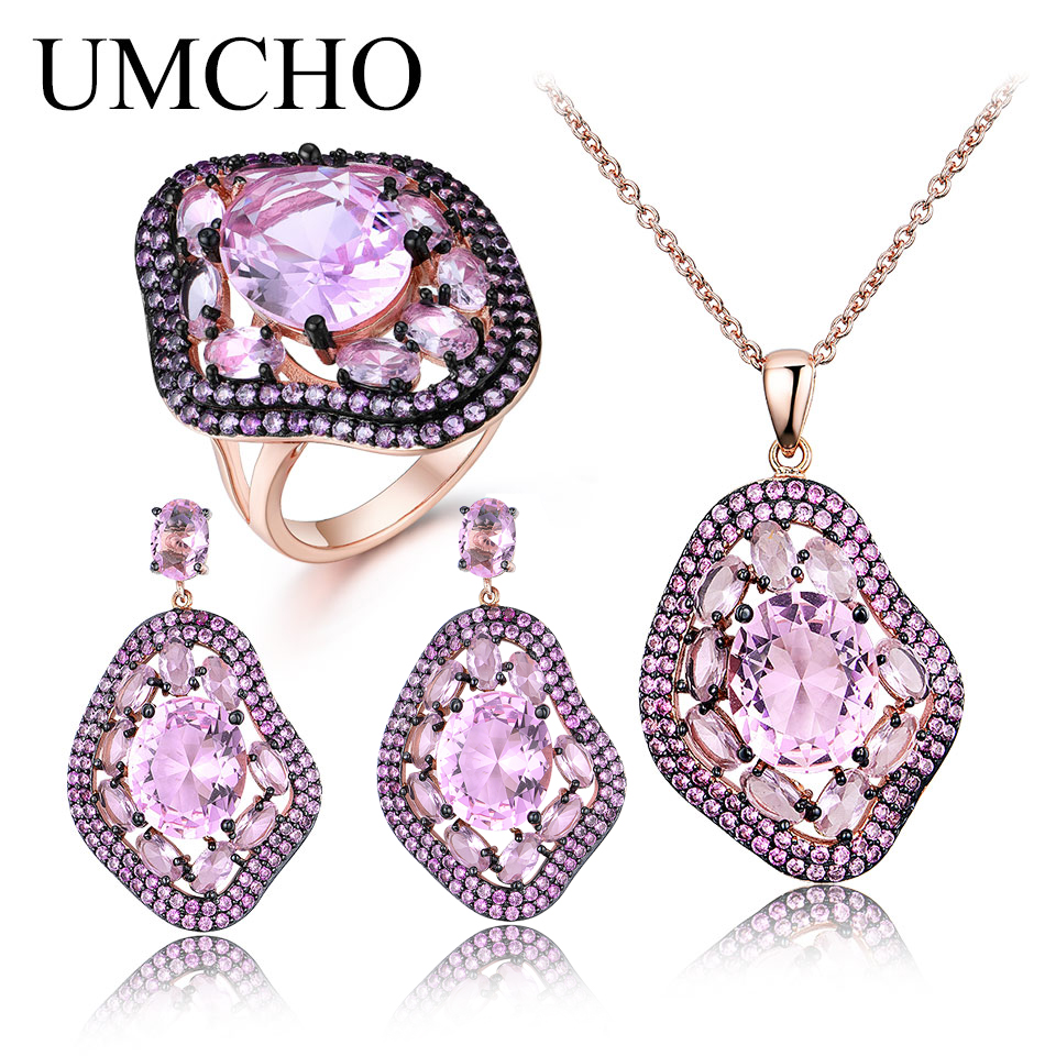 UMCHO Oval Nano Pink Moganite Jewelry Sets Gemstone Pendant Necklace Rings Drop Earrings 925 Sterling Silver For Women Best Gift