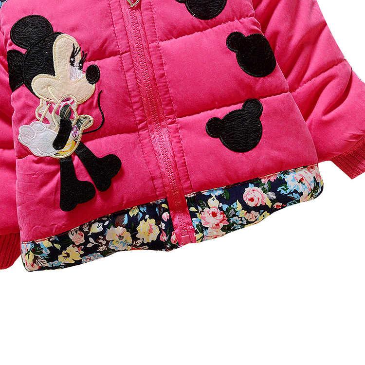 Новинка 2019 года, Осень-зима, детские толстовки с капюшоном с Микки и Минни, куртка, пальто Одежда для маленьких девочек Детская верхняя одежда для малышей теплое пальто для детей от 0 до 3 лет