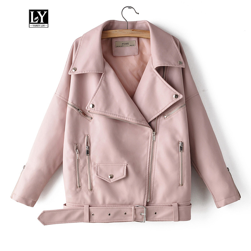 Ly Varey Lin Autumn Women Faux Soft   Leather   Loose Jacket Coat Turndown Collar Zipper Pu Motorcycle Street Outerwear With Belt