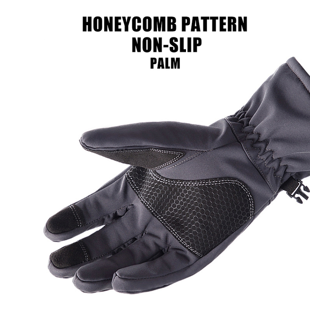 Queshark Women Men Winter Camouflage Hunting Gloves Warm Anti-slip Fishing Gloves Waterproof Touch Screen Skiing Camping Gloves 5