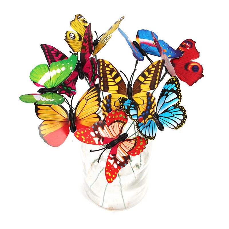 10 шт. Искусственные бабочки садовые украшения имитация бабочки колья поддельные бабочки Садовые принадлежности для двора растение газон Декор - Цвет: Random Color
