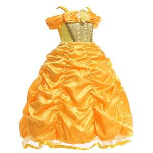 Image 2 - Vestidos bella de la bella y la bestia para niña, disfraz de princesa, disfraces de Cosplay, vestido de Bella de Disney, ropa de fiesta de boda y cumpleaños