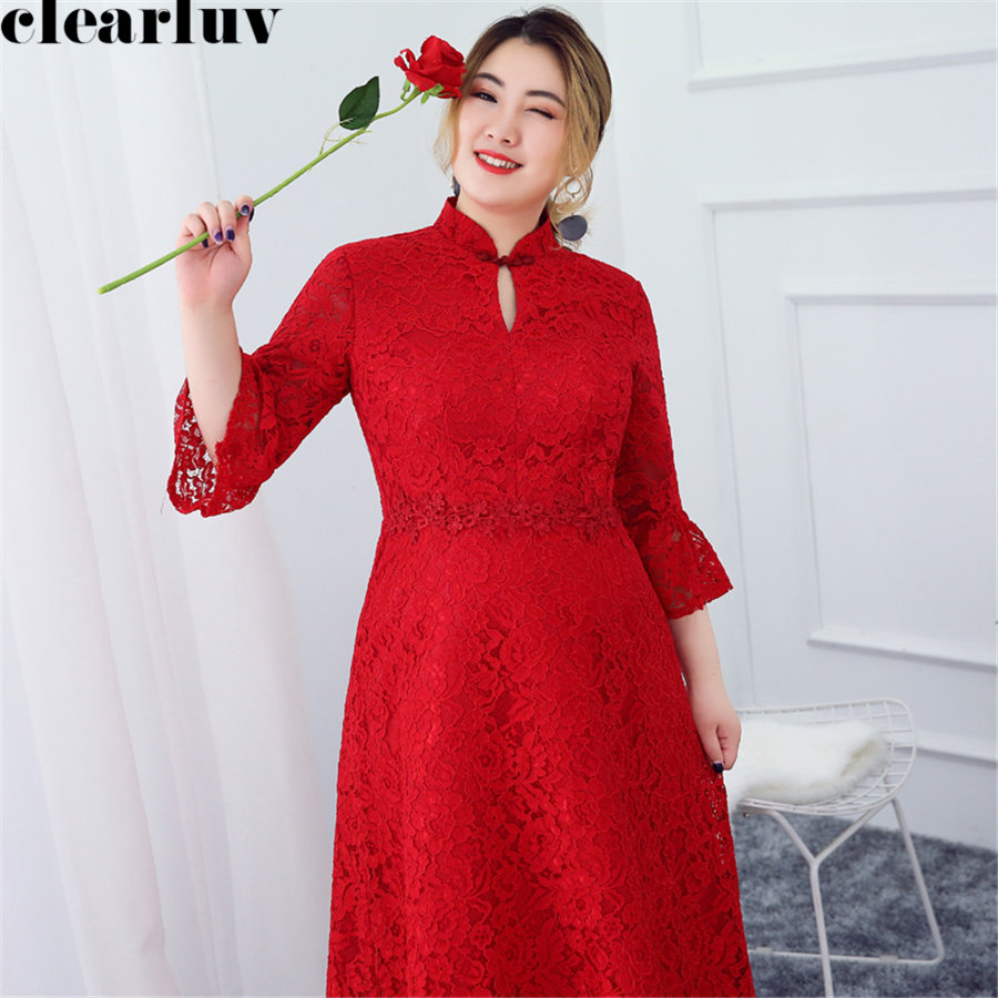 Three Quarter Sleeve Prom Dress Plus Size New Dresses Women Party Night Lace Flowers Vestidos De Gala Short Prom Gowns 2019 T217