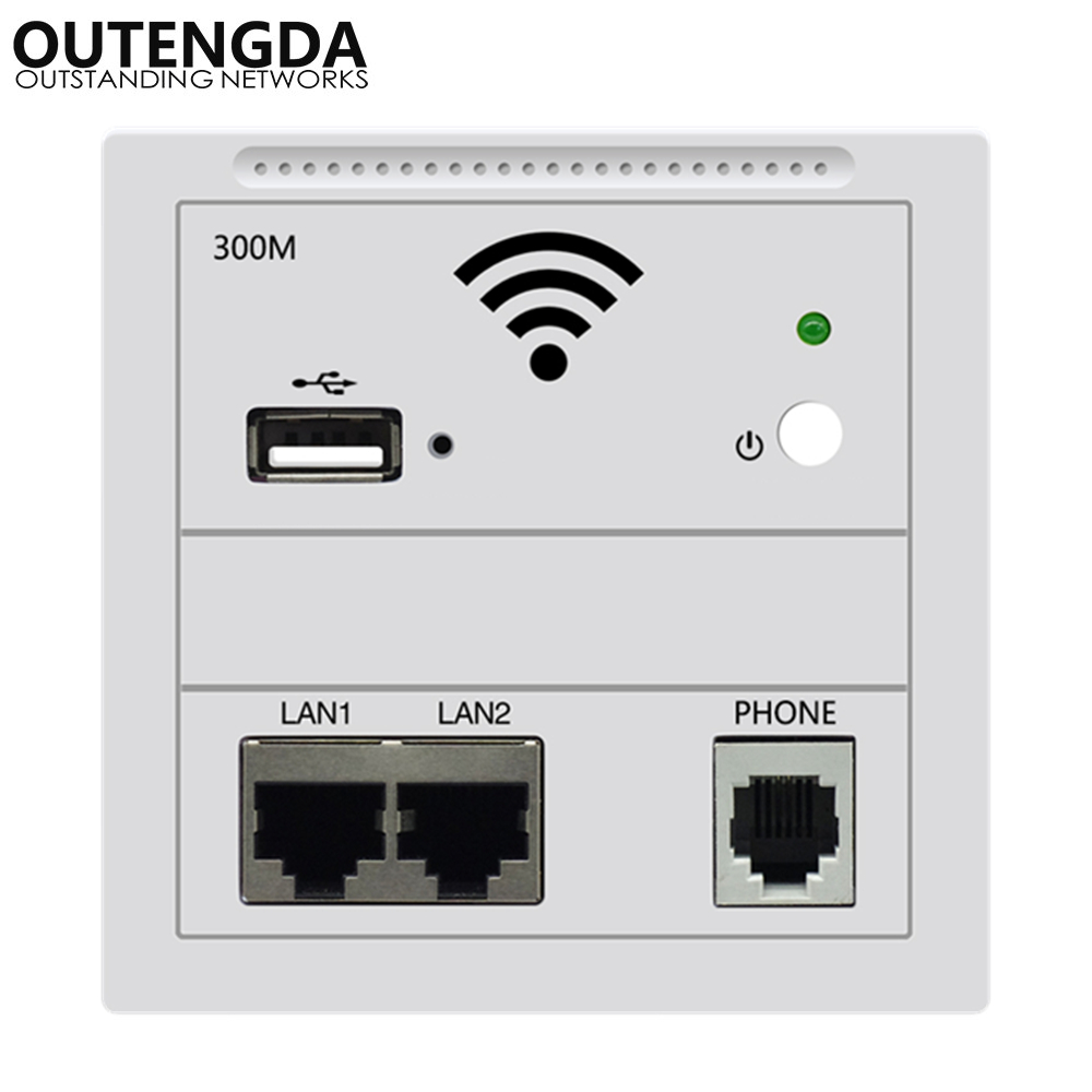 In Wall WiFi Access Point Wireless AP Repeater WiFi Router 300Mbps IEEE802.3af POE White Gold Black For Hotel Dormitory Office
