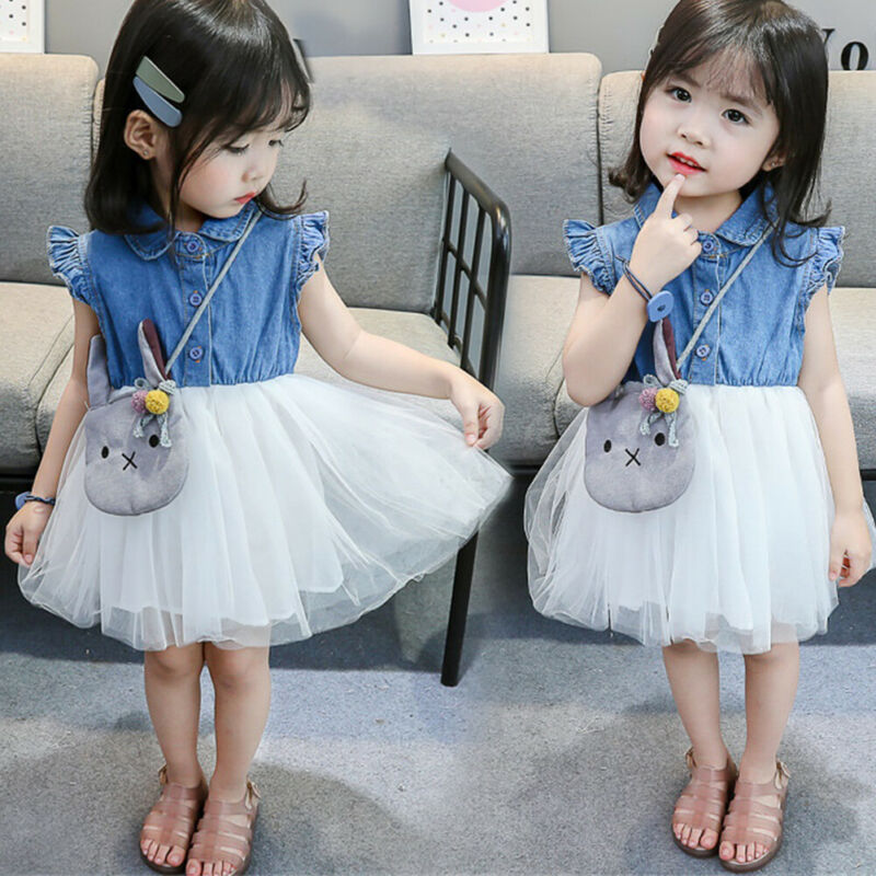Kids Baby Girls Patchwork Jeans Denim Mesh Skater Tutu Dress Newborn Outfits