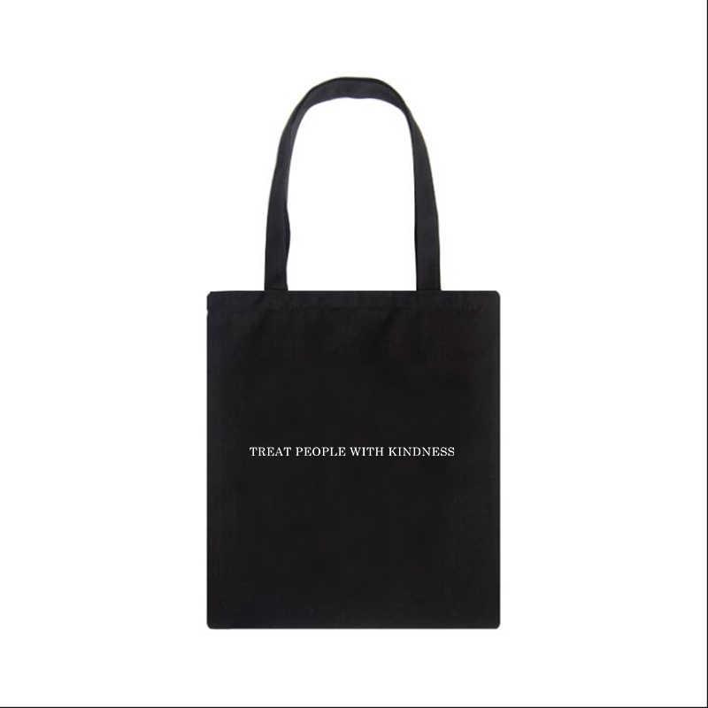 친절하게 사람들을 대하십시오 편지 캐주얼 해리 스타일 패션 캔버스 대용량 하라주쿠 WomenNew Fun Vintage Shoulder Bag