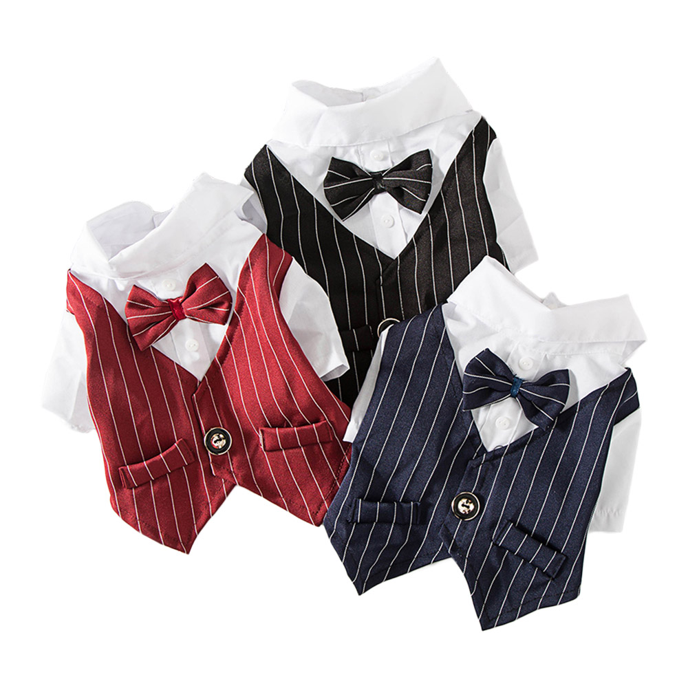 Gentleman Dog Clothes Wedding Suit Formal Shirt For Small Dogs Bowtie Tuxedo Pet Outfit Halloween Christmas Costume For Cats