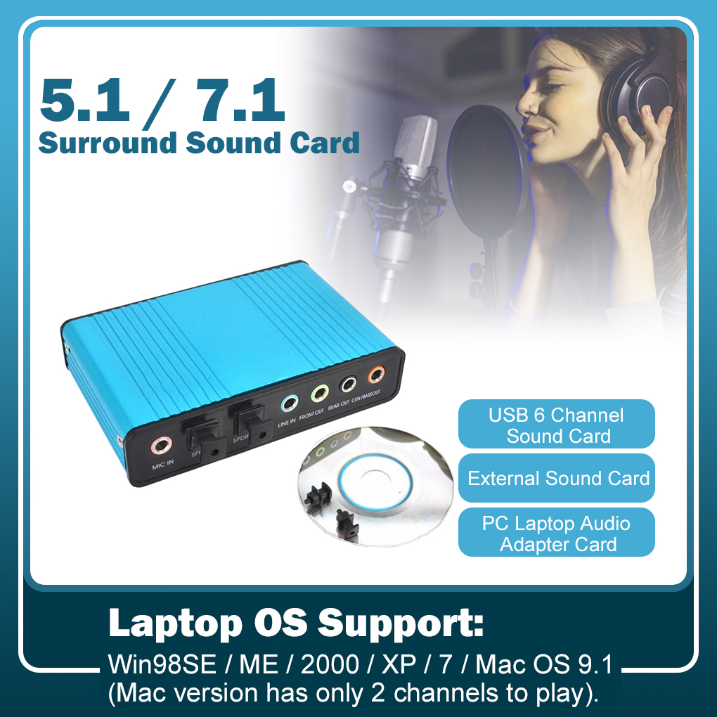 Brand 6 Channel 5.1 USB Sound Card Surround Optical External Audio Card Converter For PC Laptop Desktop Tablet Adapter Card