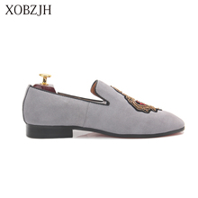XOBZJH 2019 New  Men Dress Shoes Handmade Leisure Style Wedding Party Flats Leather gray Loafers Size