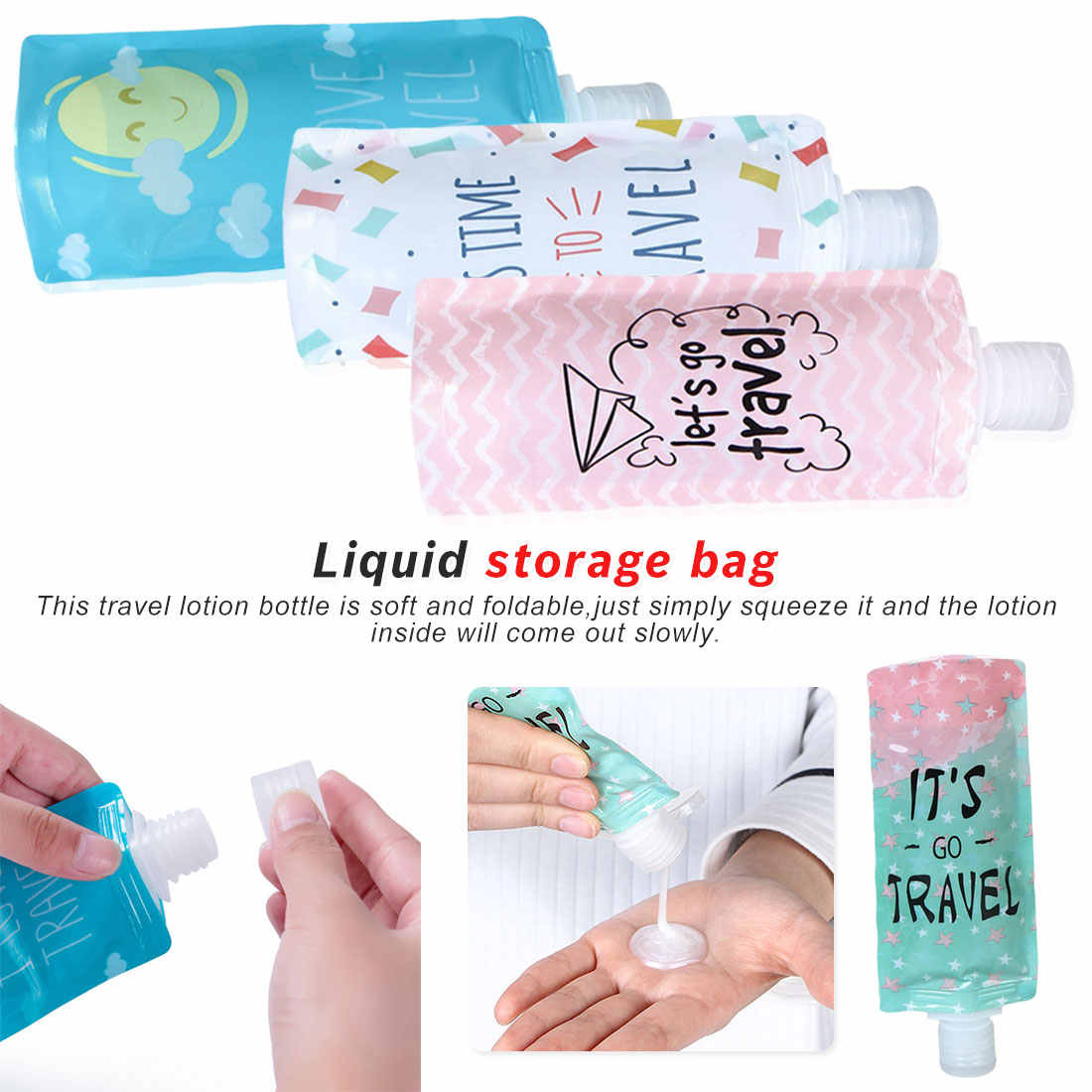 100ml travel Liquid soap bottle Cosmetic filling pvc bag, portable Packing bag Shampoo/Makeup fluid sub bottle packaging bottle