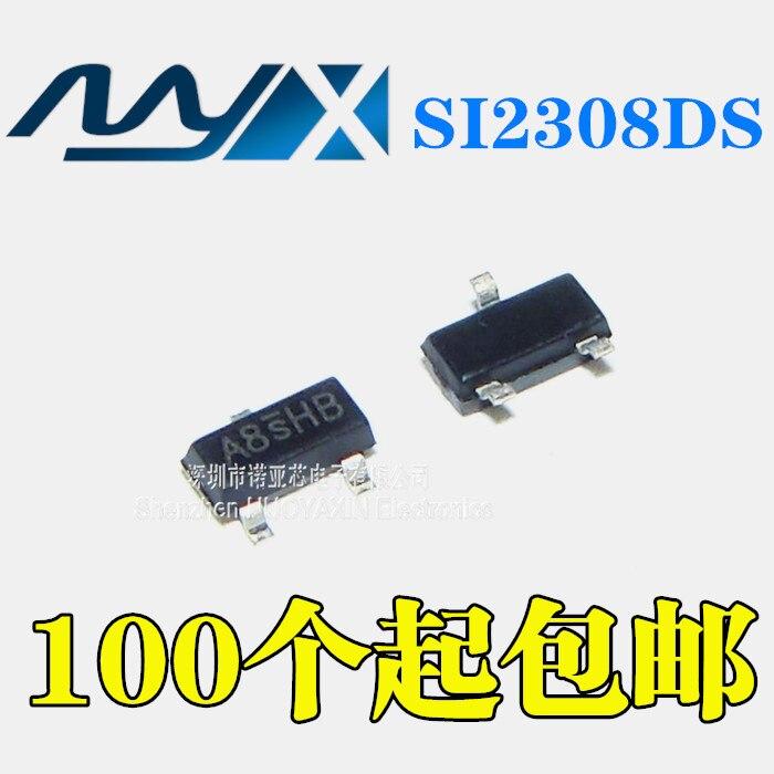 100 шт./лот Новый SI2308DS пластырь SOT-23 2A 60V A8SHB