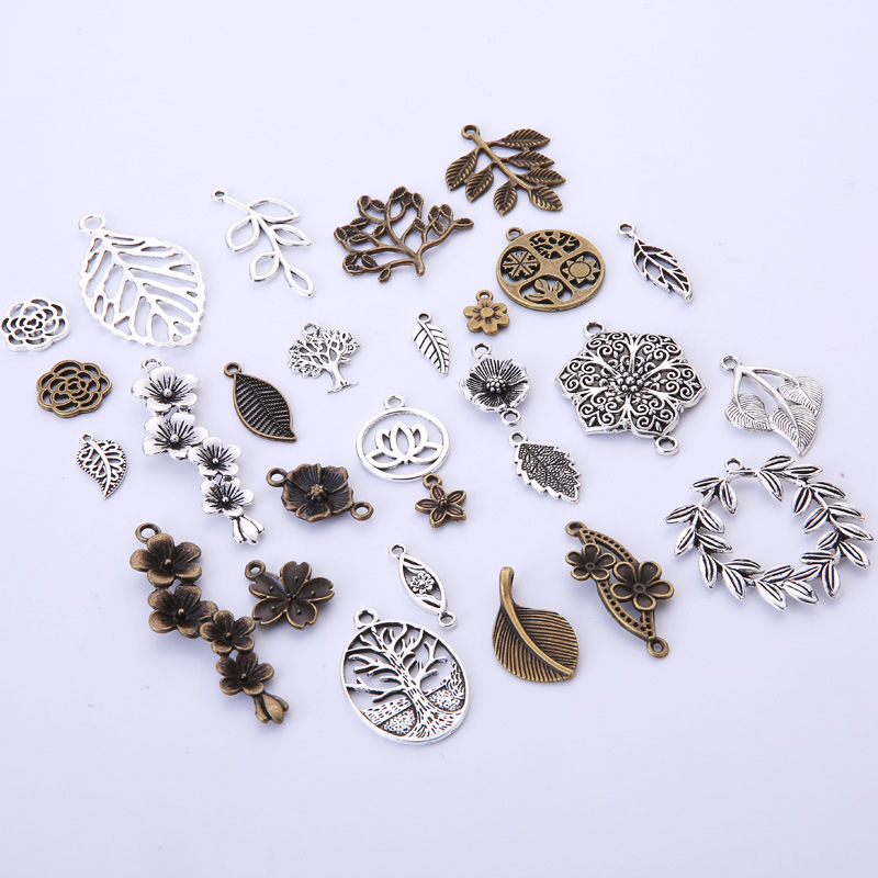 20pcs Antique Bronze Tibetan Tree Leaf Links Pendant Charm Retro Jewelry Making
