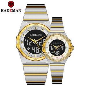 Часы KADEMAN для пар, новые роскошные часы для влюбленных, подарки от топового бренда, кварцевые часы с ЖК-дисплеем, повседневные деловые модные...