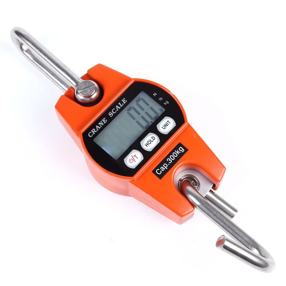 300kg/600lb Mini Electronic LCD Digital Hanging Scale Portable Industrial Crane Scale Heavy Duty Hanging Weight Hook Scale