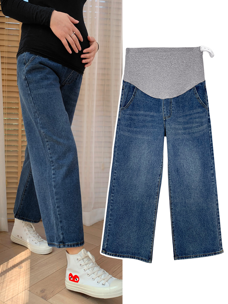 Maternity Wide Leg Jeans For Pregnant Woman 2021 Pregnancy Denim Pants Cotton Straight Trousers Maternity Clothing Plus Size
