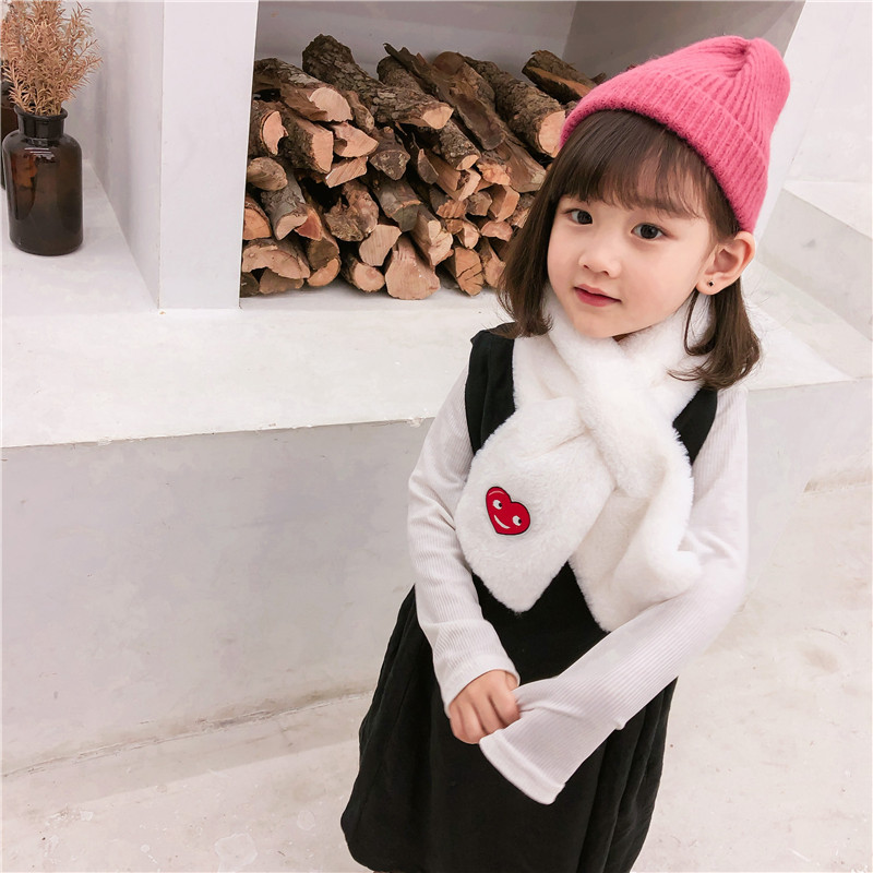 2019 New Style Autumn & Winter CHILDREN'S Cartoon Heart Cross Scarf Warm CHILDREN'S Scarf