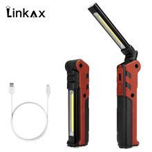 Linterna COB portátil recargable por USB, luz LED de trabajo COB magnético, lámpara con gancho para colgar al aire libre, novedad de 2019
