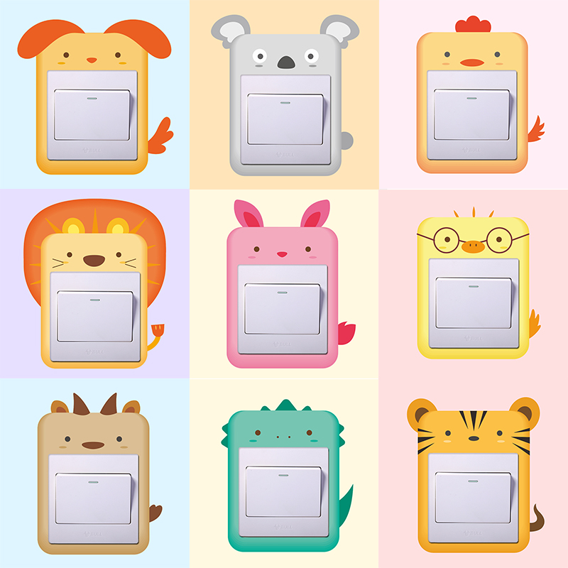 Cute Cartoon Animals Switch Panel Stickers For Home Decor Living Rooms Bedroom Decoration PVC Mural Kids Art Decals