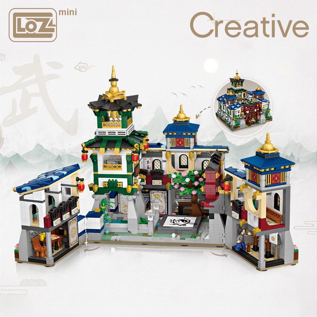 LOZ мини блок мини пояс коробка дом со складной Jingwu кунг-фу Jingwu музей китайский стиль архитектура модель DIY сборки игрушки
