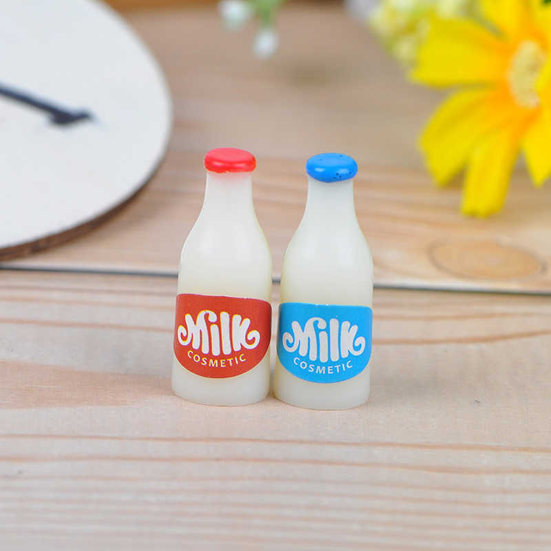 Sữa + Tặng Bình Sữa Ăn Sáng Nhà Búp Bê Phụ Kiện Nhà Bếp 1:12 Thu Nhỏ Thực Phẩm Kim Loại Cà Phê Rượu Giỏ Bánh Mì