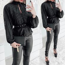 2019 New Women Stripes Mesh Blouse Office Lady Mock Neck Long Sleeve Blouse Casual Workwear Tops недорого