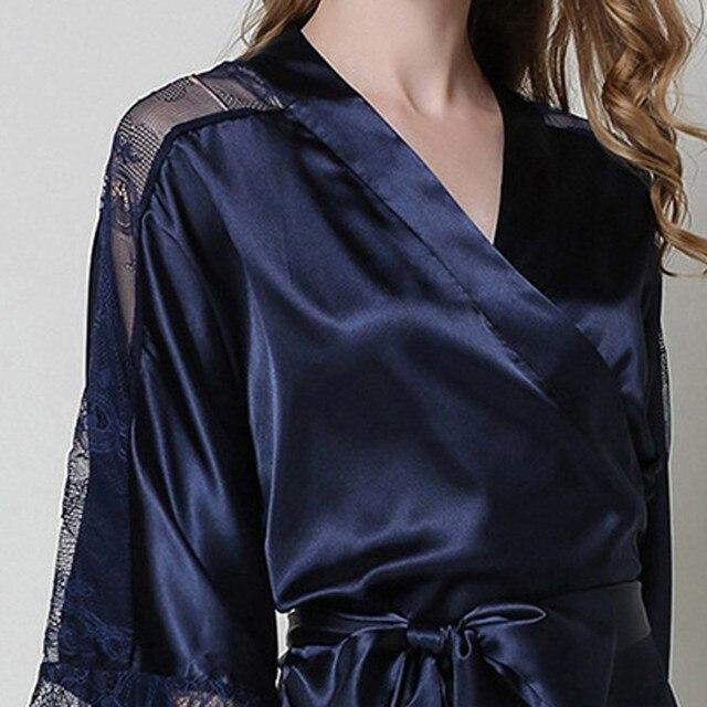 Sexy Nightgown Women Lace Splice Long Bathrobe Faux Silk Sleepwear Nightdress Kimono Robes Bride Bridesmaid Robes Dressing Gowns